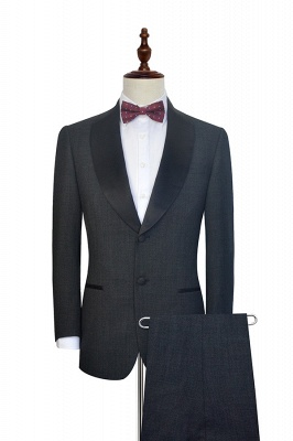Dark Grey Black Shawl Lapel Two Bottons Wedding Suit For Groom | Hot Recommend Single Breasted Tailored 2 Piece Suits_1