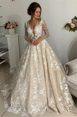 Glamorous Lace Lace Appliques V-Neck Wedding Dresses | Long Sleeves Backless Floral Bridal Gowns