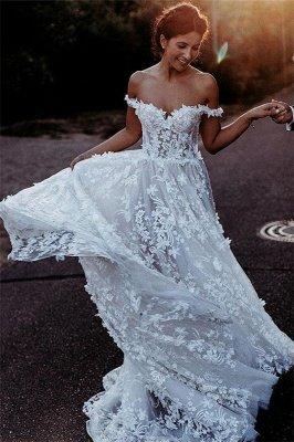 Flowers Off-the-Shoulder Wedding Dresses | Lace Appliques Floral Bridal Dresses_2