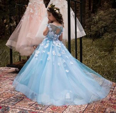 Lovely Wholesale Tulle Square Neckline Tea-length A-line Ice Blue Flower Girl Dress_6
