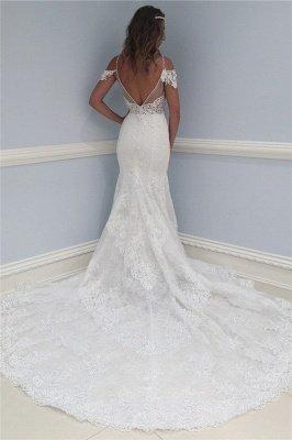 Stunning Lace V-Neck Wedding Dresses | Ruffles Cap Sleeves Floral Bridal Dresses_2