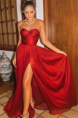 Sexy Burgundy Strapless Side-Slit A-Line Long Prom Dresses_1