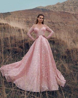 Pink Off-The-Shoulder Long-Sleeves Lace Appliques Applique Princess  Prom Dresses_2
