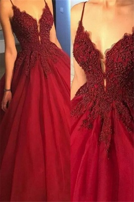 Gorgeous Spaghetti Strap Beads Prom Dresses | Red Lace Ball Gown Evening Dresses