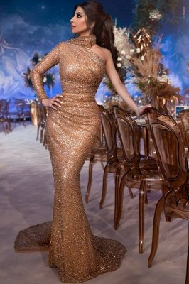 Glamorous Hign-Neck One-Shoulder Sequins Sexy Mermaid Evening Gown