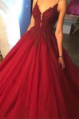 Sexy Spaghetti Straps Beaded Ball Gown Appliques Lace Prom Dresses_3