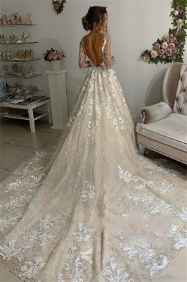 Glamorous Lace Appliques V-Neck Wedding Dresses | Long Sleeves Backless Floral Bridal Gowns_2