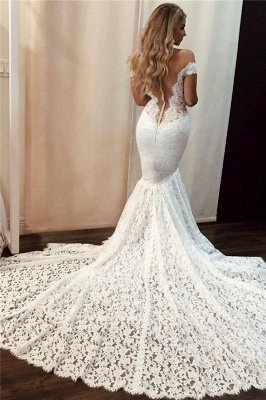 Lace Off-the-Shoulder Wedding Dresses | Sexy Mermaid Floral Bridal Dresses_2