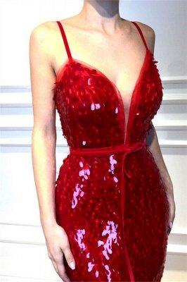 Red Spaghetti-Straps Sleeveless Sequins Sexy Mermaid Prom Dresses_3