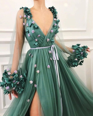 Glamorous Green Long-Sleeves Mesh Side-Slit  Prom Dress_2