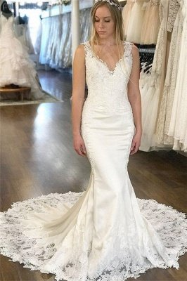 Glamorous V-Neck Lace Appliques Wedding Dresses | Sleeveless Backless Sexy Mermaid Floral Bridal Gowns