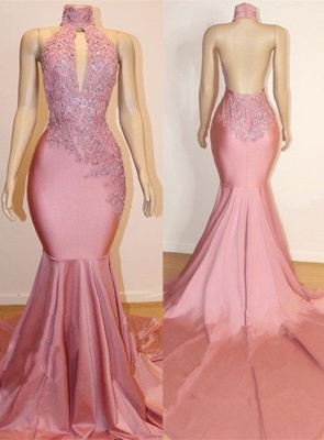 Halter Backless Sexy Mermaid Appliques Long Train Prom Dresses_1