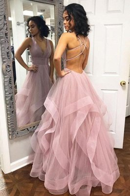 Sexy Pink Halter Ruffle A-Line Prom Dresses_1
