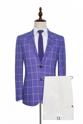 Hot Recommend Violet Purple Two Patch Pockets Custom Suit | Classic Single Breasted Peak Lapel Wedding Tuxedos For Groom