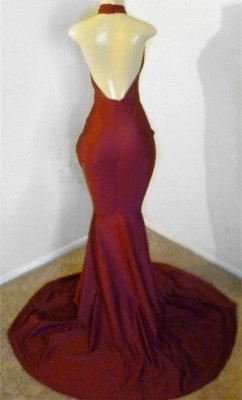 Burgundy Halter Appliques Backless Sexy Mermaid Prom Dresses_2