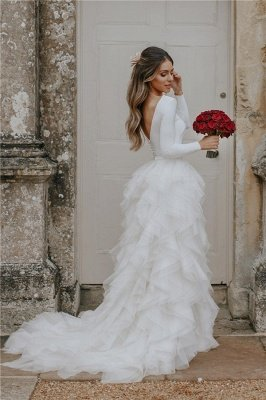 Glamorous Applique  Side slit Sexy Mermaid Wedding Dresses_1