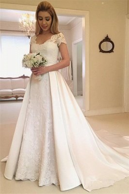 Beautiful Appliques Cap Sleeves A-line Wedding Dresses_1