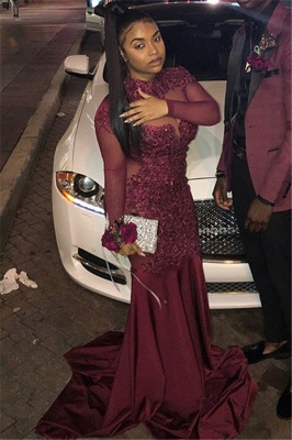 Burgundy High-Neck Long-Sleeves Sheer-Mesh Applique Prom Dress_2