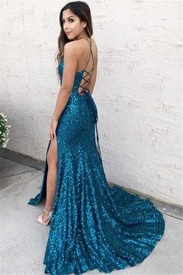 Glamorous Blue Halter Sequins Side-Slit Criss-Cross Sexy Mermaid Prom Dress_2