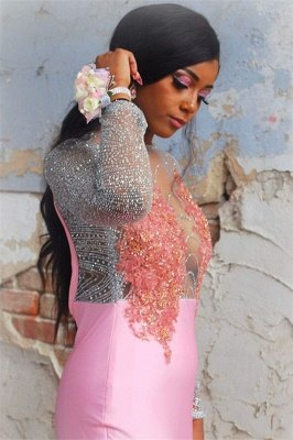 Glamorous Pink Flower Long-Sleeves Sexy Mermaid Backless Evening Gown_3