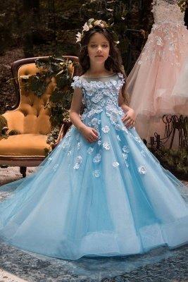 Lovely Wholesale Tulle Square Neckline Tea-length A-line Ice Blue Flower Girl Dress_1