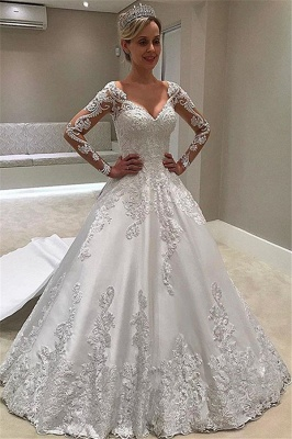 Elegant Long-Sleeves Ball-Gown Appliques Bridal Gown_1