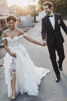 Flowers Off-the-Shoulder Wedding Dresses | Lace Appliques Floral Bridal Dresses_3