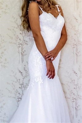 Straps Lace Appliques Mermaid Wedding Dresses_2
