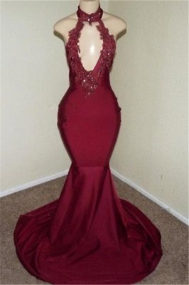 Burgundy Halter Appliques Backless Sexy Mermaid Prom Dresses