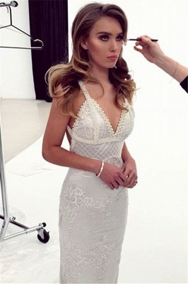 Glamorous Spaghetti-Straps Appliques Beading Sexy Mermaid Bridal Gown