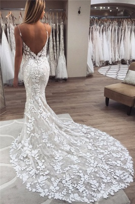 Sexy Mermaid Sleeveless Applique Spaghetti-Strap Wedding Dresses_1