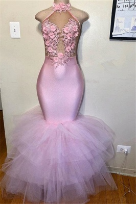 Pink Halter Sleeveless Flower Appliques  Mermaid Prom Dress_1