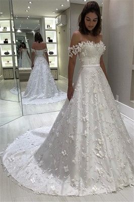 Gorgeous Off-The-Shoulder Strapless Applique Ball-Gown Wedding Dress_1