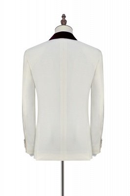 White Red Velvet Shawl Collar One Button Wedding Suit For Groom   Latest Design Single Breasted Slim Fit Suit_4