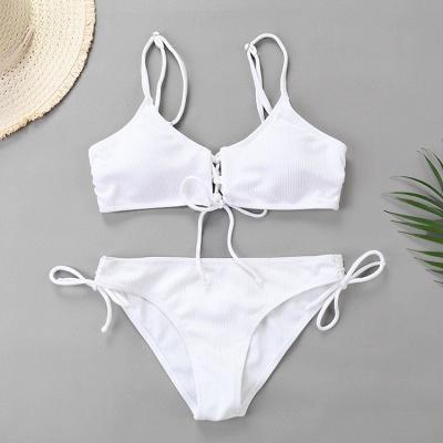 Spaghetti Straps Lace-up Bras Two Piece Sexy Bikini Swimsuits_1