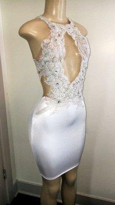 Gorgeous Crystal Halter Sleeveless Applique Backless Short Prom Dress_3