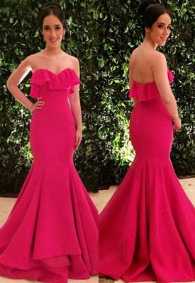 Glamorous Strapless Ruffle Sleeveless Long Sexy Mermaid Prom Dress