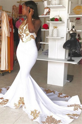 Halter V-Neck Sleeveless Gold Appliques Prom Dress_2