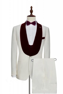 White Red Velvet Shawl Collar One Button Wedding Suit For Groom | Latest Design Single Breasted Slim Fit Suit_1