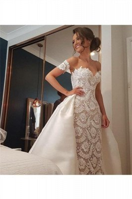Stunning Lace Appliques Sweetheart Wedding Dresses_3