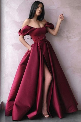 Burgundy Off-The-Shoulder Side-Slit Princess  Prom Dress