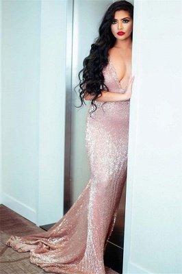Sexy Spaghetti-Straps V-Neck Sleeveless Sequins Sexy Mermaid Prom Dress_2