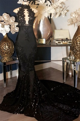 Appliques High-Neck Long Sexy Mermaid Black Prom Dresses_1