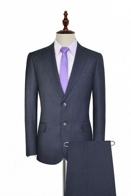 Dark Grey Wool Stripe Two botton Suit For Men | New Arriving Single Breasted Wedding Suit For Groom_1