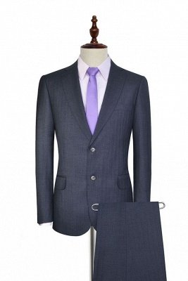 Dark Grey Wool Stripe Two botton Suit For Men | New Arriving Single Breasted Wedding Suit For Groom_2