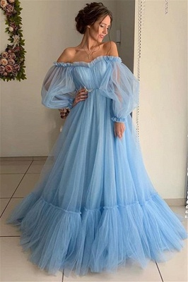 Glamorous Off-The-Shoulder Long-Sleeves Sheer-Mesh  Prom Dress