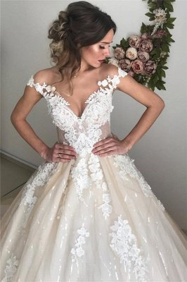 Applique Off-the-Shoulder Wedding Dresses | Sequins Backless Sleeveless Floral Bridal Dresses_4