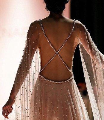 Elegant Pink Sheer- Backless Beading A-Line Prom Dress_2