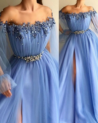 Glamorous Off-The-Shoulder Appliques Mesh  Prom Dress