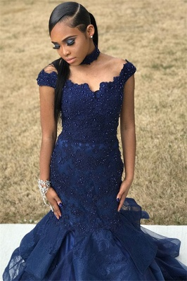 Navy Blue Off-The-Shoulder Beaded Appliques Mesh Sexy Mermaid Prom Dresses_3
